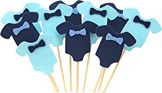 GUGUJI 40 PCS Blue Baby Jumpsuits Baby Shower Cake Cupcake Toppers Picks for Birthday Boys Party Decorations