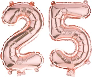 Ella Celebration 25 Party Balloons for 25th Birthday or Anniversary, Number Decorations Supplies (40 Inches, Rose Gold)