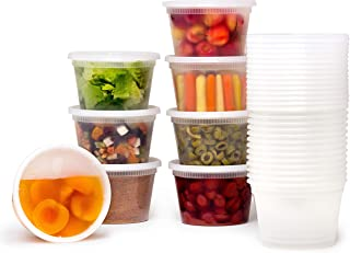 36 Sets] 16 oz. Plastic Deli Food Storage Containers with Airtight Leak Proof Lids - Washable And Reusable - Recyclable BPA-Free - Microwave, Fridge, and Freezer Safe