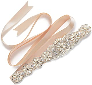 SWEETV Pearl Wedding Belt Beaded Bridal Belt Applique Bridesmaid Sash Belt for Women Dress & Gown
