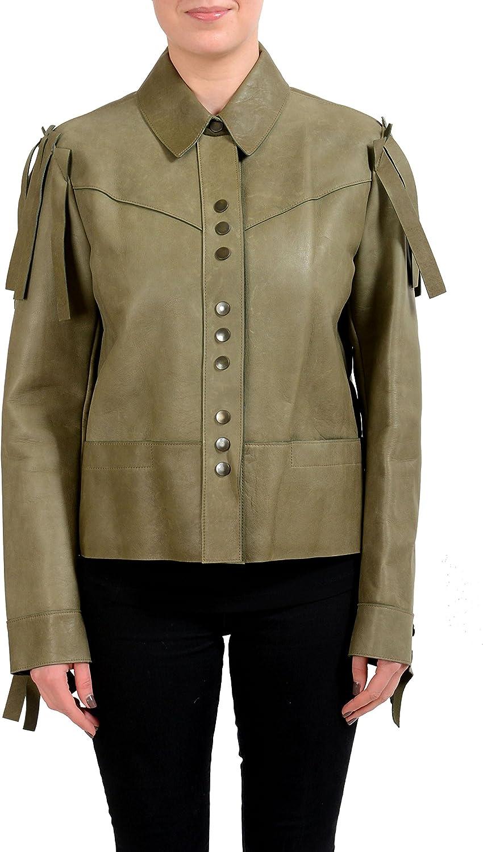 Maison Margiela 1 100% Leather Olive Green Women's Basic Jacket US S IT 40