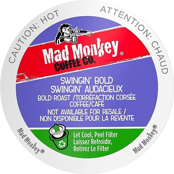 疯狂的猴子单一服务咖啡胶囊摇摆大胆 100 阿拉比卡大胆烤兼容 Keurig K 杯酿酒 48 计数