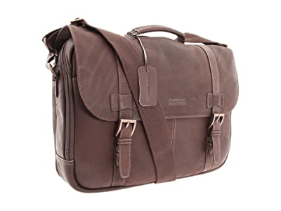 Kenneth Cole Reaction Colombian Leather Flapover Portfolio/Computer Case (Dark Brown) Computer Bags
