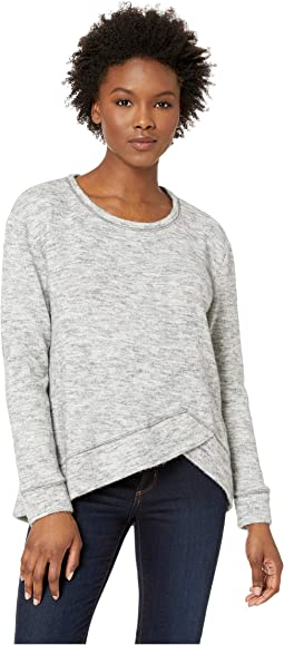 Warm and Cozy Sweater Crew Neck Pullover with Overlapped Hem