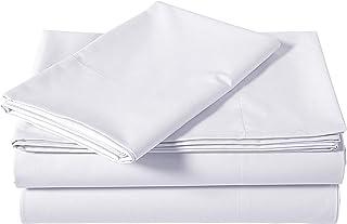 AmazonBasics Brushed Percale Cotton Bed Sheet Set, Twin, White
