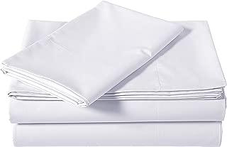 AmazonBasics Brushed Percale Cotton Bed Sheet Set, Twin XL, White