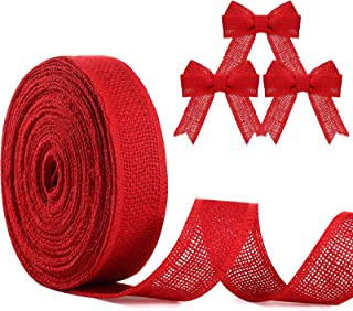 20 Yards Natural Burlap Wired Ribbon Fabric Craft Ribbon DIY Wrapping Burlap Ribbon for Wedding Home Christmas Party Decor...
