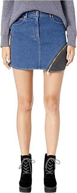 Denim Mini Skirt with Side Zip