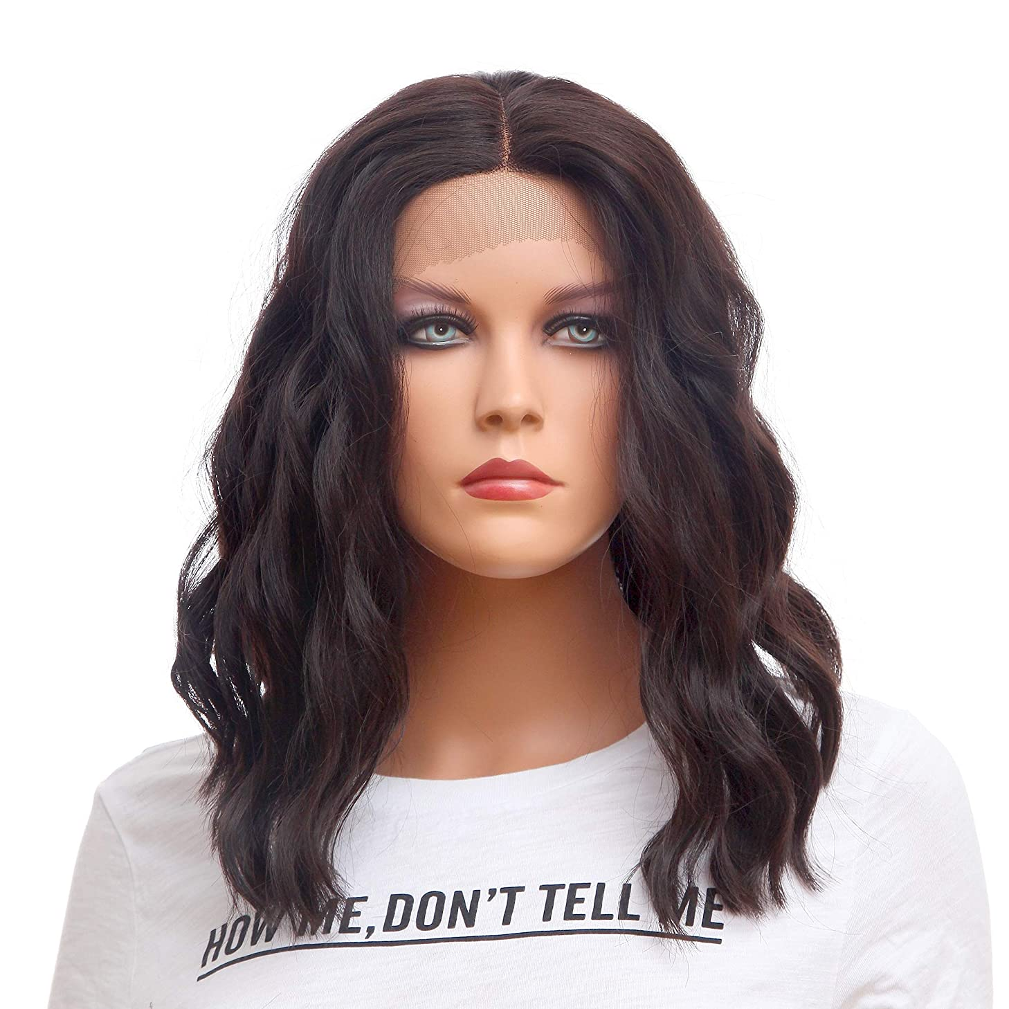 """NFACE Bob Front Lace Wigs for Black Women Loose Body Deep Water Wavy Natural Wave Shoulder Length Middle Part Replacement wigs Hairs Heat Resistant Synthetic Fiber Half Hand Tied 4# Dark Brown 175g16"""""""