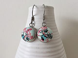 Blue Womens Round Heart Fabric Dangly Earrings White Handmade in Canada Non Tarnish Metal Stainless Steel Hypoallergenic Earrings Pink Gift for Her Heart Dangly Earrings Girls Button Earrings