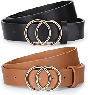 2 Pack Women Leather Belts for Jeans Pants,Ladies Plus Size Waist Belts with Double O-Ring Buckle,Suit for Pants Size 39-4...