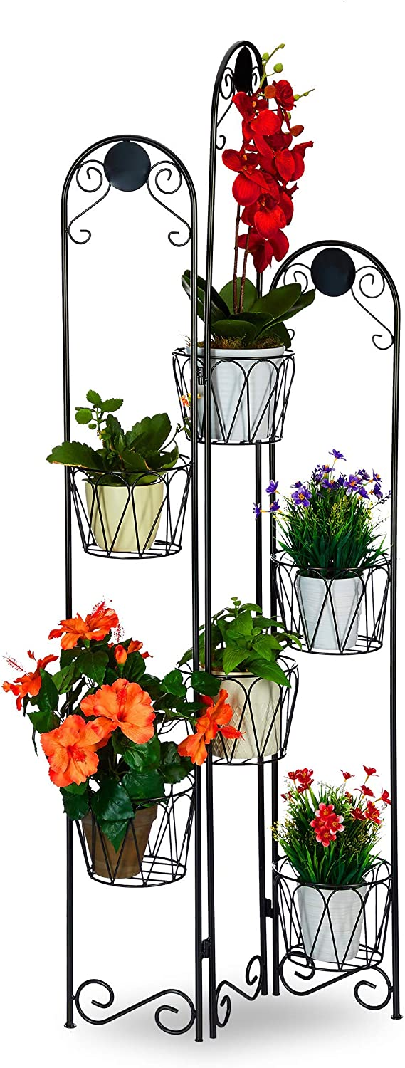 Relaxdays Metal Flower Rack Max 41% OFF Paravent for Potted Gifts 6 Plants Tiers