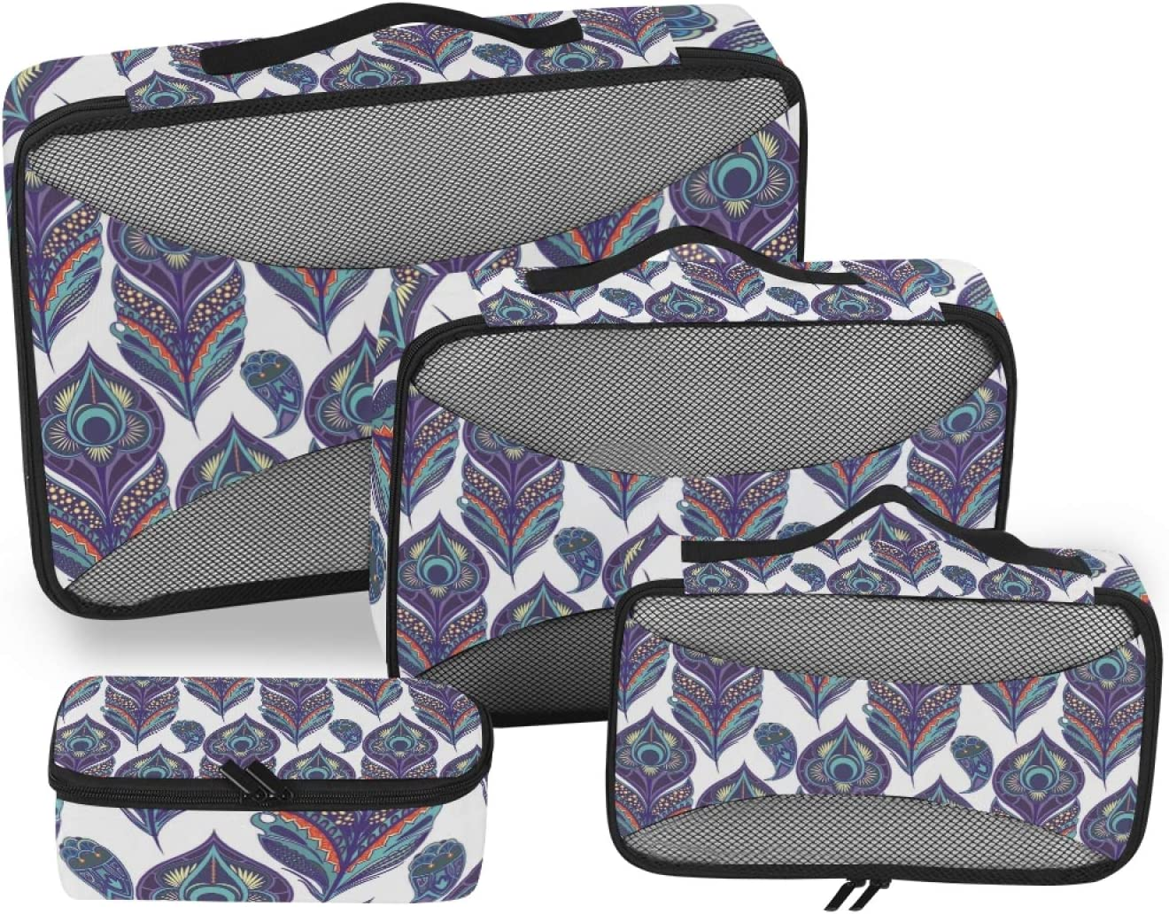 Peacock Feathers Sacramento Mall Packing Cubes Accessorie 4-Pcs Travel Popular brand in the world Organizer