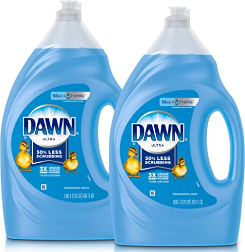 Dawn Ultra Dishwashing Liquid Dish Soap, Original Scent, Refill Size, 2 Count, 56 Oz.(Packaging May Vary)