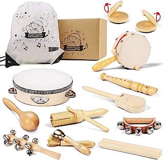 اسباب بازی های آلات موسیقی چوبی برای کودکان نوپا و کودکان و نوجوانان ، مجموعه موسیقی سازگار با محیط زیست سازهای کوبه ای طبیعی چوبی با کیسه ذخیره سازی