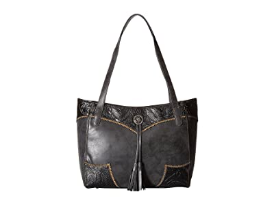 American West Guns and Roses Secret Tote (Charcoal/Black) Tote Handbags