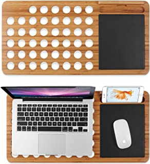 Prime Sale Day Deals Sale Offers 2019-Bamboo Laptop Lap Desk Pad Board Notebook Tablet Cellphone Stand Holder Organizer with Built-in Mouse Pad Hole for Cooling Fits up to 11