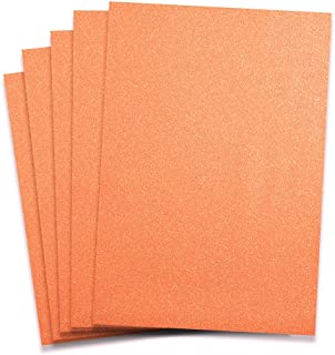 Rozzy Crafts - Neon Orange Glitter Heat Transfer Vinyl (HTV) - 5 Sheets Each 12 inches by 10 inches - Works with Cricut, Silhouette, and All Other Cutting Machines