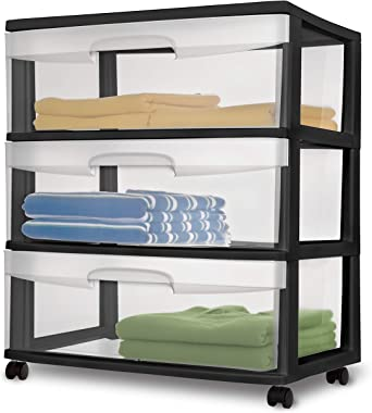 Sterilite 29309001 Wide 3 Drawer Cart, Black Frame with Clear Drawers and Black Casters, 1-Pack