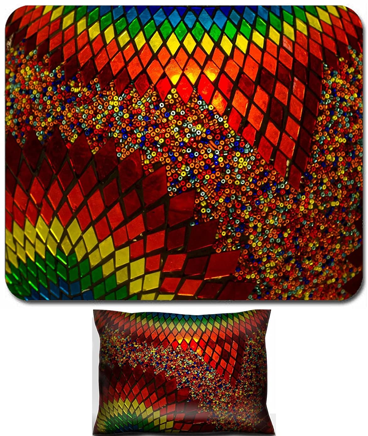 Luxlady Mouse Wrist Rest and Small Mousepad Set, 2pc Wrist Support design IMAGE: 43647770 Background texture of traditional multicolored turkish lamp hanging at the Grand Bazaar in Istanbul Turkey