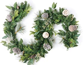 CraftMore Pine Garland with Grey Pinecones and Birch Christmas Decor Balls