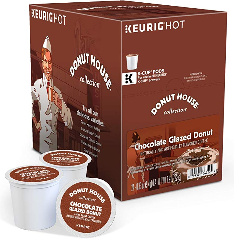 Donut House Collection Chocolate Glazed Donut Keurig Single Serve K Cup Pods Light Roast Coffee 48 Count