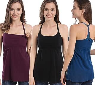 3PACK Women's Nursing Tanks Maternity Tops Racerback Breastfeeding Cami Bra Shirt