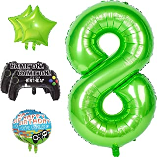 40 Inch Large Number 8 Balloon for Boys Birthday Decoration, Party Supplies Video Game Theme Foil Mylar Helium Balloons fo...