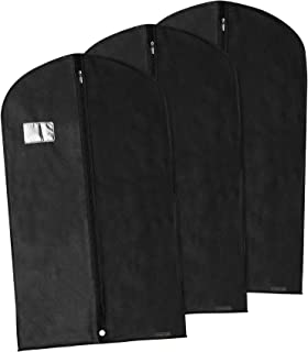 Hangerworld 3 Black 40inch Breathable Suit Coat Garment Clothes Carry Cover Protector Bags