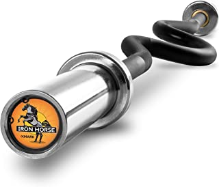 XMark IRONHORSE Olympic Bar Super EZ Curl Bar Olympic Curl Weight Barbell, Compatible with 2