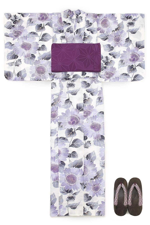 (ソウビエン) 浴衣 セット レディース 白 アイボリー 紫色 パープル ヒマワリ 向日葵 花 ラメ 綿 半幅帯 マクレ ボヌールセゾン