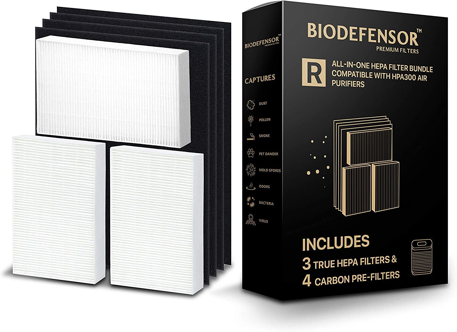 Biodefensor HEPA Complete Replacement HPA300 Filters Including (4) Pre-Filters Compatible with Honeywell Air Purifier