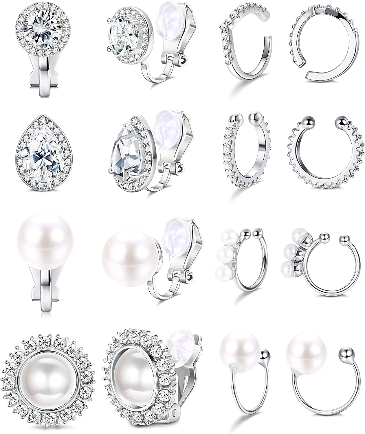 LOYALLOOK 8 Limited time sale Pairs Clip Earrings for Max 59% OFF Pierced Women CZ Non Pearl C