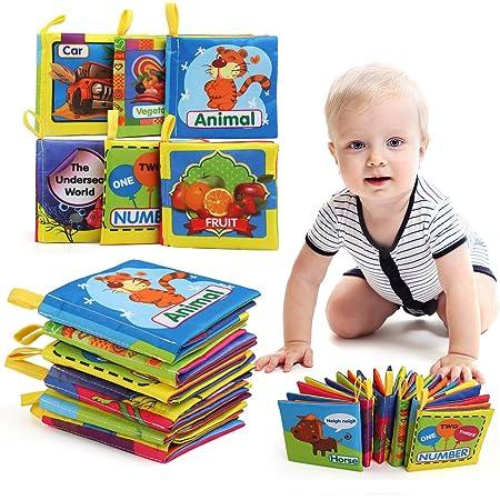LEADSTAR B/éb/é Tissu Livres Lot de 2 Jouet Educatif Intelligence Development Animale Cloth Apprentissage et Activit/é Jouets pour Bambin Enfants B/éb/é