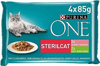 Purina ONEcomida húmeda para gato esterilizados filetes en salsa con variedad de salmón y pavo 12 x [4 x 85 g]