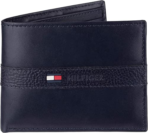 Tommy Hilfiger Men's Ranger Leather Passcase Wallet with Removable Card Case