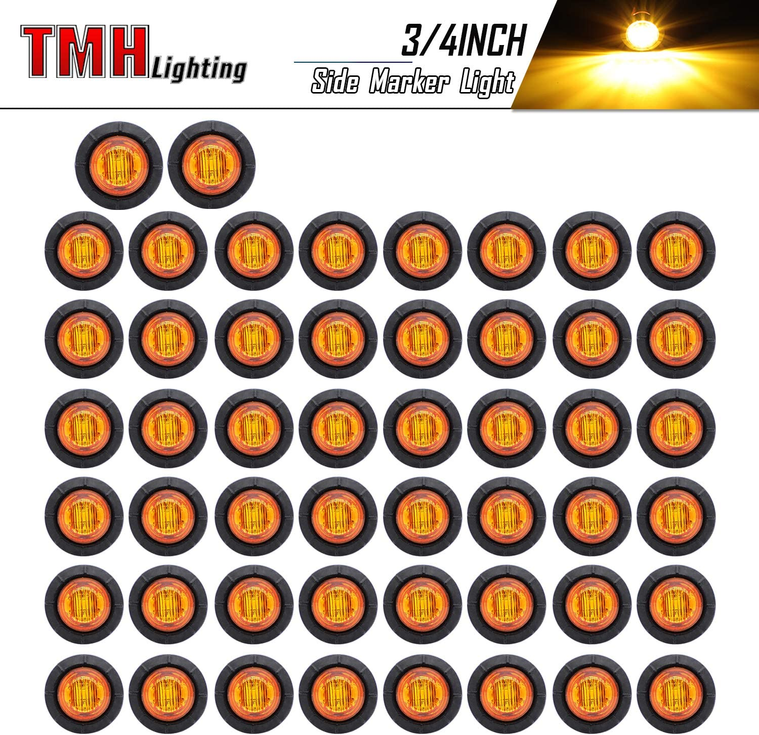 TMH 3 4-Inch Mount Amber LED Trailer Max 55% OFF Pack Mail order cheap Marker of 50 Lights