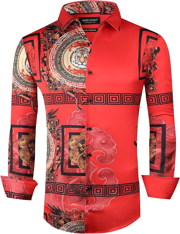 Alex Vando Mens Nightclub Printed Dress Shirts Non-Iron Regular Fit Button Down Party Men Shirt