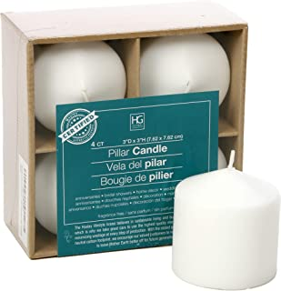 Hosley's Set of 4, 3 Inches High, White Unscented Pillar Candles