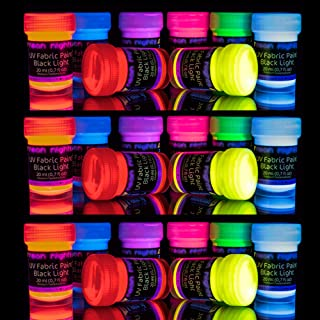 'XXL Set' 24 Cans of Glow Fabric & Textile Paint by neon nights | UV Black Light Fluorescent Ultraviolet