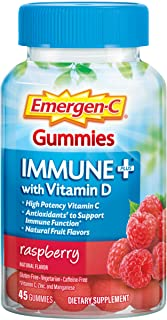 Emergen-C Immune+ Immune Gummies, Vitamin D plus 750 mg Vitamin C, Immune Support Dietary Supplement, Caffeine Free, Glute...