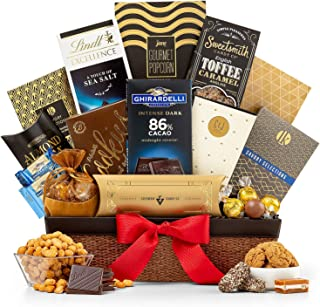 GiftTree Encore Gourmet Gift Basket | Ghirardelli & Lindt Chocolates, English Toffee Caramels, White Cheddar Popcorn, Nuts & More | Perfect Present for Birthdays, Thank You, Business and Holidays