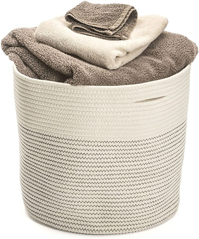 Storage Basket Extra Large Cotton Rope Woven 17 X15 Home Organizer Baskest Hand Woven Decorative Basket To Be Used As Laundry Hamper Baby Toys Bin Craft Storage Bin Toddler Clothes Basket Bag