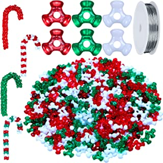 Christmas Holiday Beaded Ornaments Candy Cane Ornament Craft Kit, Including 0.38 Inch Plastic Tri Beads and Beading Wire for Christmas Decoration (1600 Pieces Tri Beads)