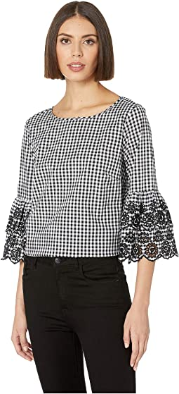 Gingham 3/4 Embroidered Sleeve Blouse