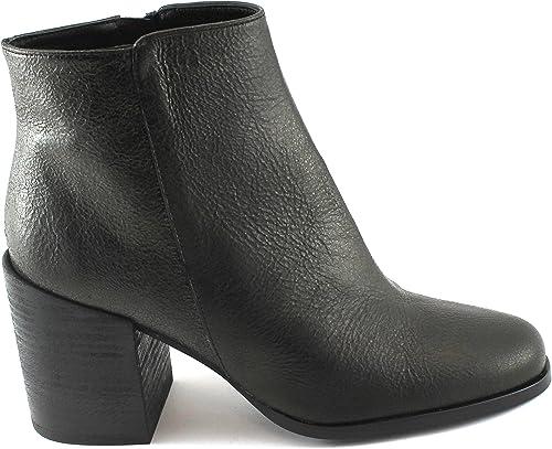 Sapena 33087 Chaussures Femme Bottes Noires en Cuir zippée Talons