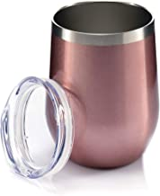 Sips Insulated Wine Tumbler With Lid - Insulated Stainless Steel Wine Glasses 12 Oz Each. 18/8 Food Grade Stainless Steel - BPA Free Lid - Rose Gold