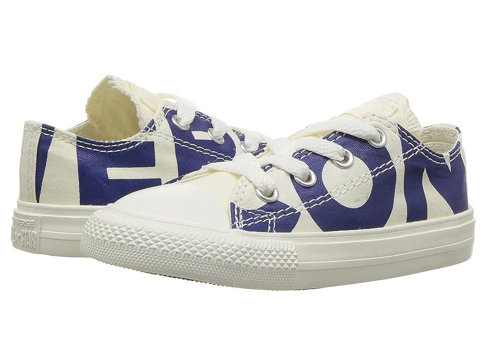 Converse Kids Chuck Taylor All Star Wordmark Ox (Infant/Toddler) (Natural/Blue/Egret) Kids Shoes