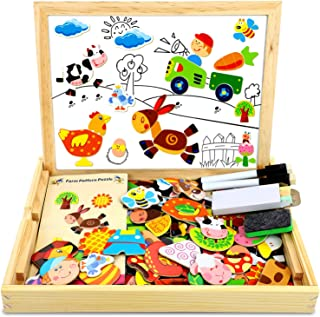 IMMEK Wooden Magic Cube Face Emoji Pattern Building Blocks Child Toys Brain Teasers 3 4 5 Year Old Kids Montessori for Boy and Girl Gift Toddler Puzzle Stacking Game Wood Jigsaw 12 Pieces 50 Cards