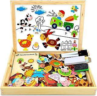 COOLJOY Puzzles en Bois Magnétique,100 + Pièces Animaux de Ferme Puzzle Aimant Jigsaw avec Tableau Noir de Chevalet à Doub...